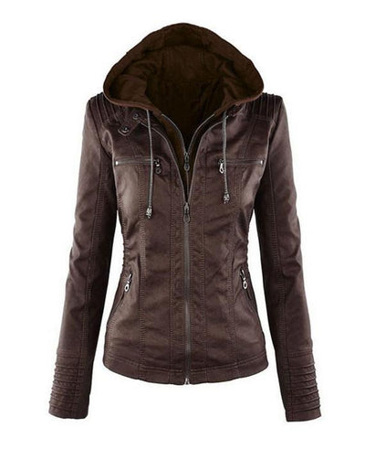 heated jackets, Women hooded faux leather jacket coffee