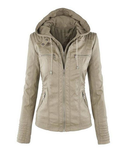waterproof jackets, Women hooded faux leather jacket khaki