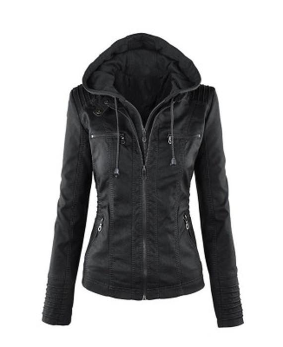 Women hooded faux leather jacket