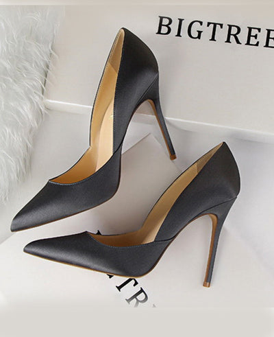 Leather Pointed Toes Slip On Pumps Sexy Shoes Gray