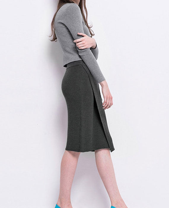Sexy Split Solid Color Mid-Calf Knitted Skirt