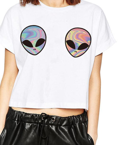 3D Aliens Printed White Crop Top Short Sleeve T-Shirt