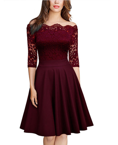 Off The Shoulder Lace Patchwork Prom Party Dress