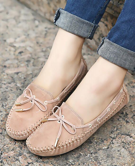 Casual Bowtie Loafers Sweet Candy Colors Slip-on Flats Shoes