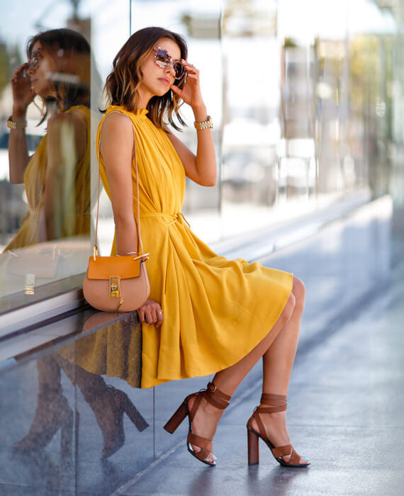 Casual Sleeveless Yellow Short Mini Dress