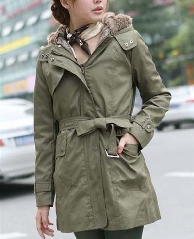 Faux Fur Cotton Padded Jacket Outwear with Belt