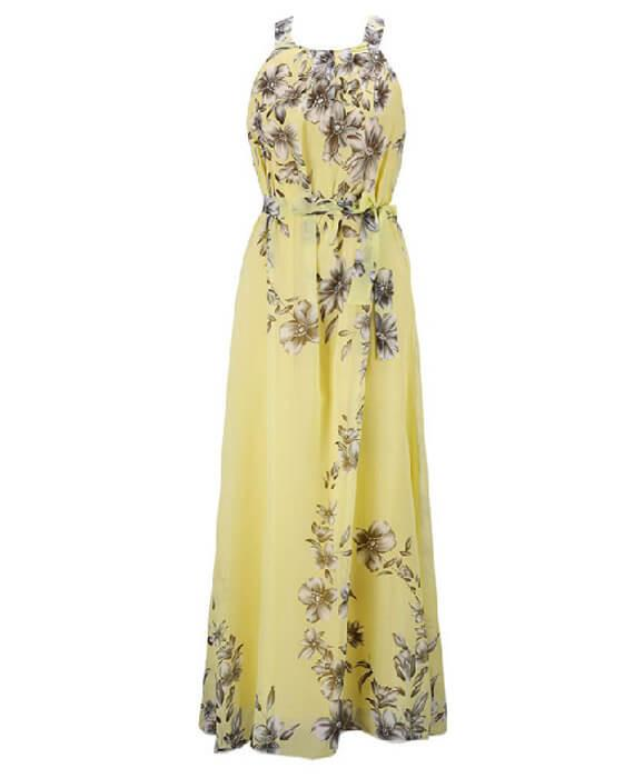 Halter Neck Floral Print Sleeveless Beach Maxi Long Dress