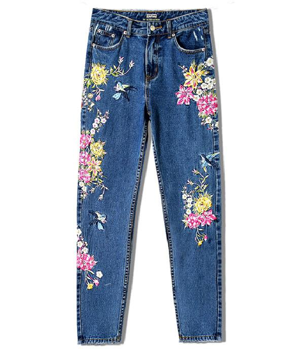 High Waist Bird Floral 3D Embroidery Straight Jeans