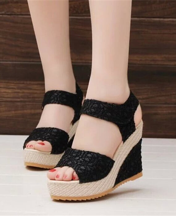 Open Toe Fish Head High Heels Wedge Sandals