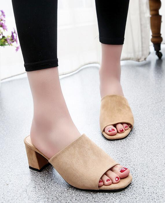 Peep Toe Chunky Suede Sandals Slippers