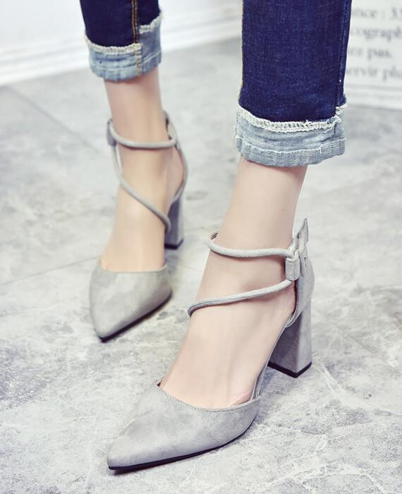 Pointed Stilettos Cross Strap High-heel Shoes