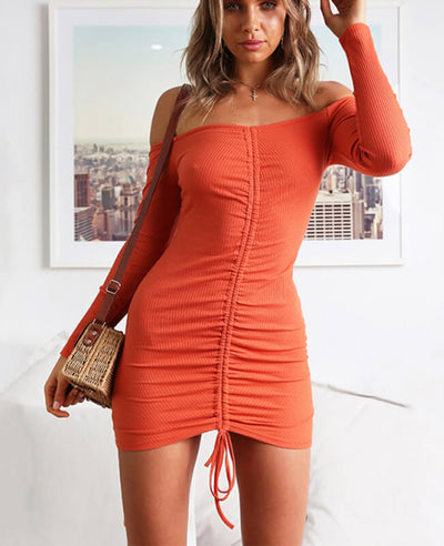 Off the Shoulder Drawstring Sexy Bodycon Dress-1