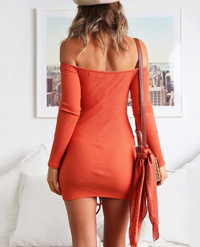 Off the Shoulder Drawstring Sexy Bodycon Dress-6