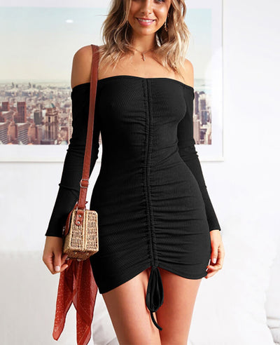 Off the Shoulder Drawstring Sexy Bodycon Dress-2