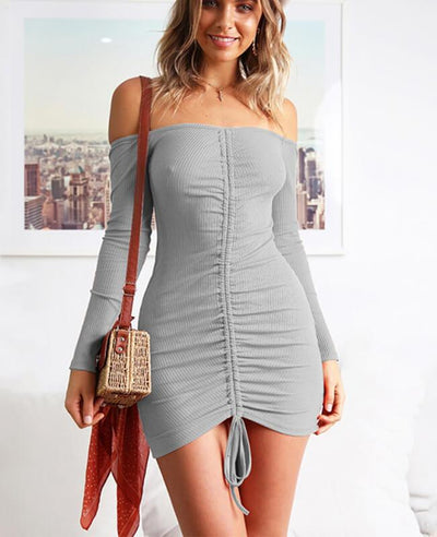 Off the Shoulder Drawstring Sexy Bodycon Dress-4