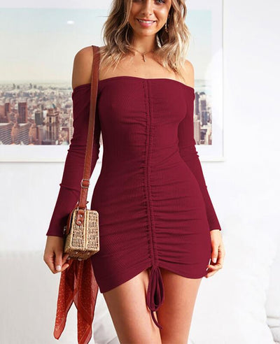 Off the Shoulder Drawstring Sexy Bodycon Dress-3