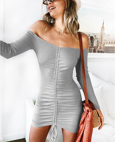 Off the Shoulder Drawstring Sexy Bodycon Dress-5