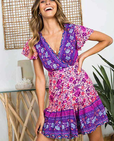 Bohemian Floral Print Ruffle Mini Dress-4
