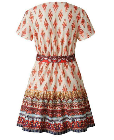 Bohemian Floral Print Ruffle Mini Dress-16