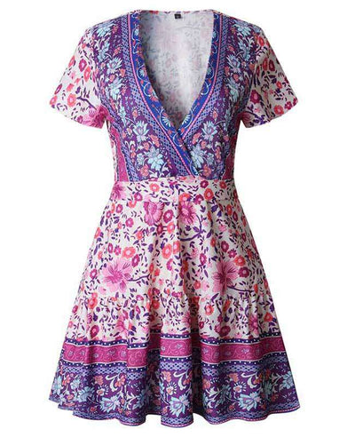 Bohemian Floral Print Ruffle Mini Dress-17