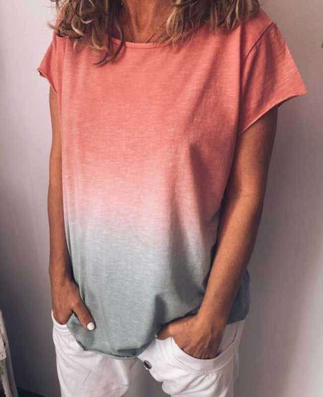 Change Color Round Neck T-shirt