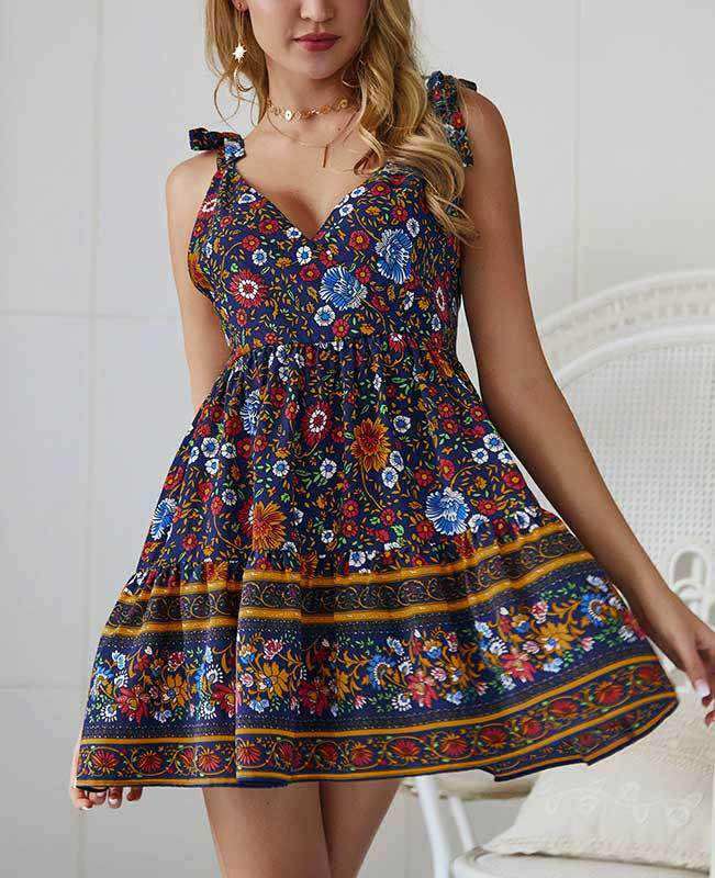 Spaghetti Strap Boho Short Dress