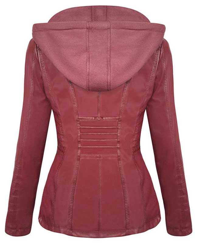 Womens Red Faux Leather Jacket with Hood