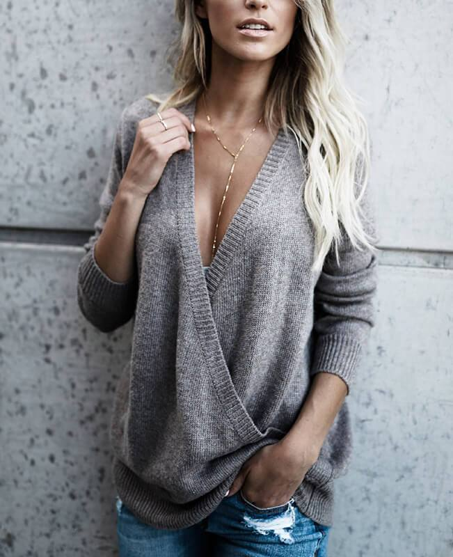 Solid Color Cross Deep V-Neck Sweater