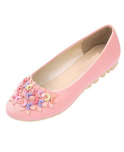 Slip-on Crescent Flower Soft PU Leather Flats