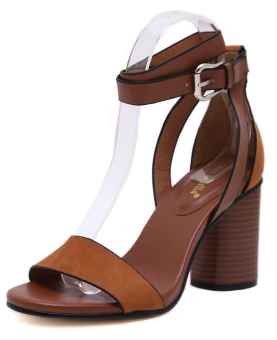 Strap Open Toe Chunky High Heels Sandals