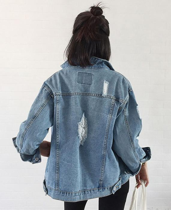 Vintage Long Sleeve Loose Denim Jackets