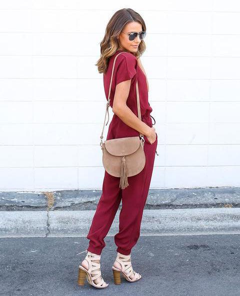 V-Neck Chiffon Short Sleeve Casual  Jumpsuit