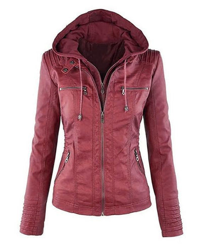 Women hooded faux leather jacket red