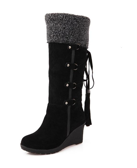 Wedges Plush Knee High Snow Boots