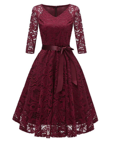 2/3 Sleeve Lace Cocktail Dress