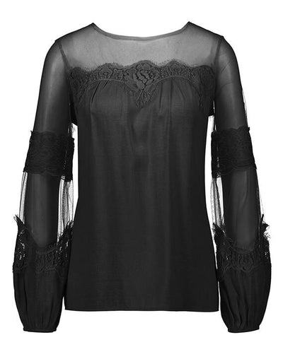 Long Sleeve Perspective Lace Blouse-3