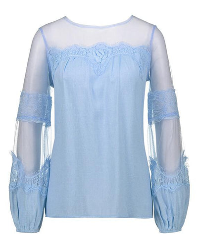 Long Sleeve Perspective Lace Blouse-2