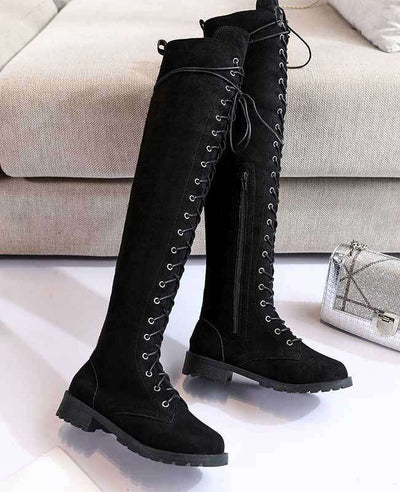 Over the Knee Lace Up Boots-13