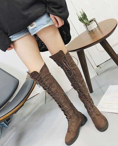 Over the Knee Lace Up Boots-2