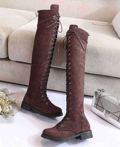 Over the Knee Lace Up Boots-11