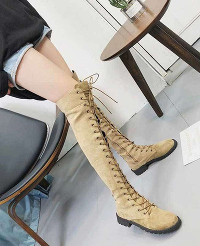 Over the Knee Lace Up Boots-4