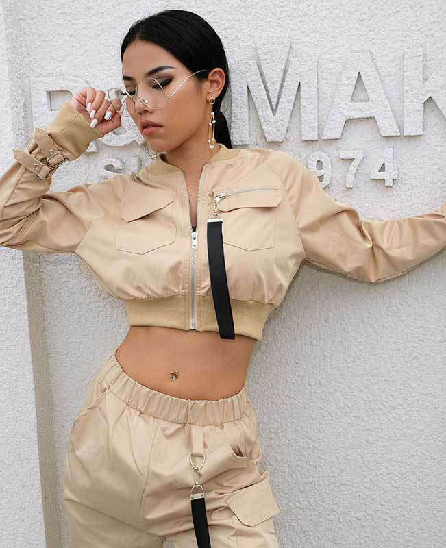 Women Crop Bomber Jacket