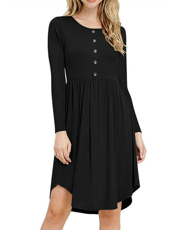 Solid Color Long Sleeve Casual Dresses