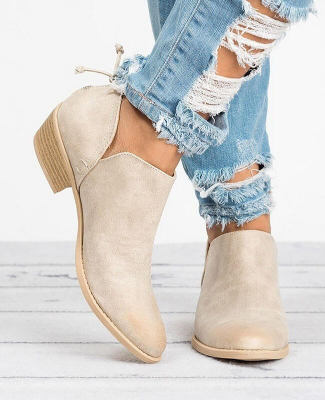 Square Heel Pointed Toe Chunky Boots