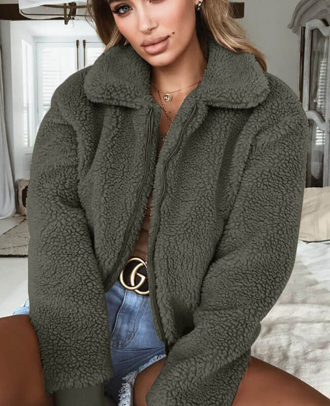 Teddy Bear Zip Up Fluffy Coat