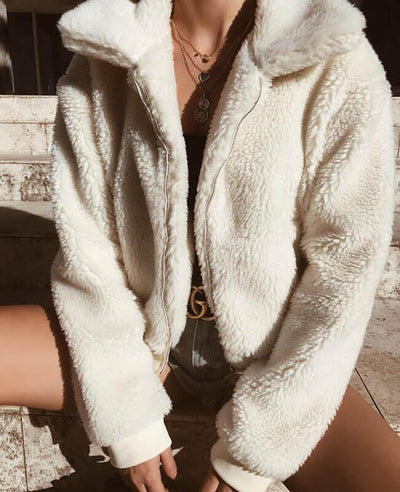 Teddy Bear Zip Up Fluffy Coat-4