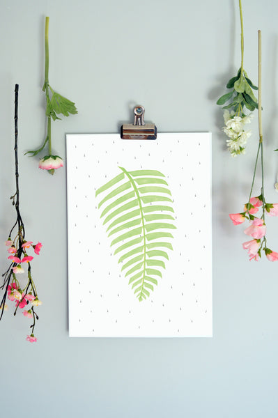 A beautifully illustrated print of a  Fern leaf, exquisitely printed by designers Born Lucky. This modern print will soon become a favourite in any room of the house.  Available unframed and in two sizes A4 & A3  Designed and printed in the UK