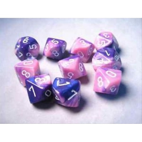Buy Chessex - 10D10 - Gemini - Pink-Purple/White and more Great Dice Products at 401 Games