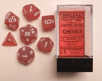 Buy Chessex - 7 Piece - Frosted - Red/White and more Great Dice Products at 401 Games
