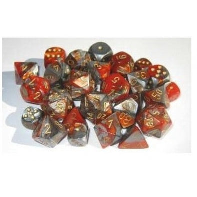 Buy Chessex - 7 Piece - Gemini - Orange-Steel/Gold and more Great Dice Products at 401 Games